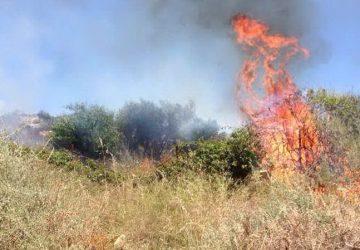 Giarre, a fuoco area sommersa da rovi e sterpaglie non bonificata