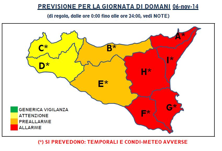 Cartina Meteo Sicilia.Allerta Meteo Domani E Rosso