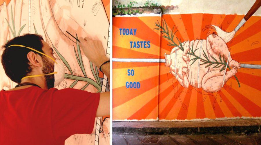 """Giardini Naxos ed il murales dello scandalo: un messaggio contro il """"cibo spazzatura"""""""