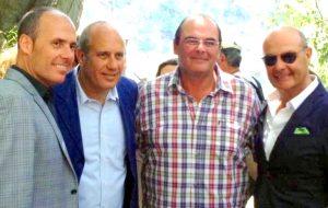 Federico Moccia con i fratelli, da sinistra, Alessandro, Antonino e Maurizio Vaccaro