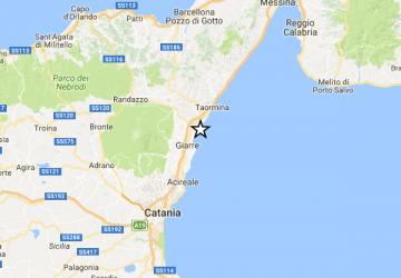 Scossa di terremoto di magnitudo 2.9 al largo di Riposto