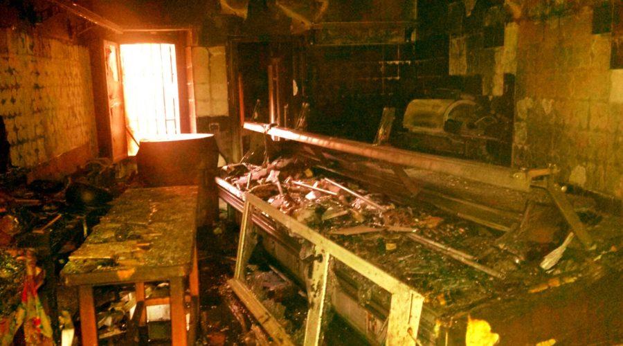 Linguaglossa: macelleria devastata da un incendio di matrice chiaramente dolosa