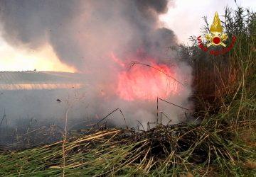Paternò,  vasto incendio in un canneto. Intervento dei Vigili del fuoco