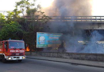 Giarre, sterpaglie in fiamme nel quartiere Satellite. Intervento dei Vigili del fuoco in via delle Mimose