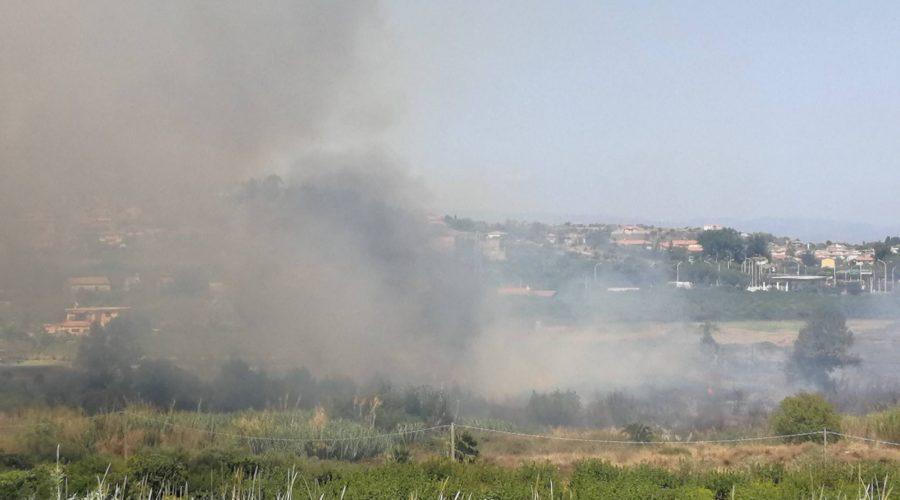 Calatabiano, vasto incendio nei pressi della stazione Fs. Impegnati diversi mezzi dei Vigili del fuoco