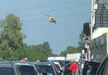 A18, grave incidente nel tratto di Calatabiano. Coinvolte tre auto e un autocarro. Interviene elisoccorso