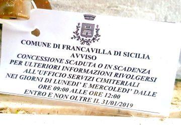 """Francavilla di Sicilia: tombe """"scadute"""" al cimitero di contrada Cappuccini"""