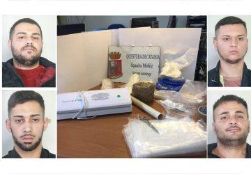 Catania, beccati con 1,5 kg di cocaina. Arrestati in quattro