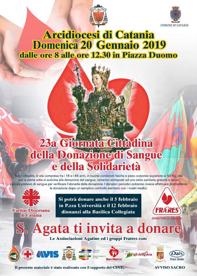 Catania: in occasione delle celebrazioni di S. Agata organizzata la XXIII giornata della donazione e della solidarietà
