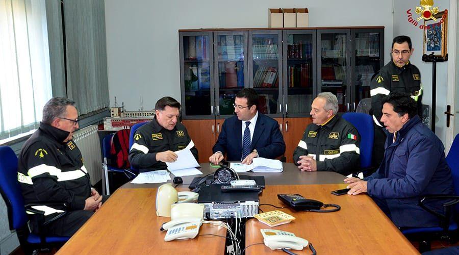 Catania, il Sottosegretario Candiani in visita al Comando dei Vigili del fuoco