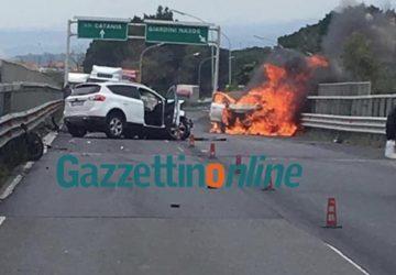 A18, grave incidente alle porte di Giardini Naxos: auto a fuoco