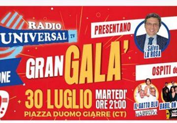 Gran Galà Premio Radio Universal TV: il 30 luglio la terza edizione in piazza Duomo a Giarre