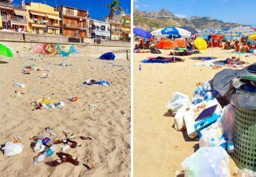 """Ferragosto a Giardini Naxos nella """"spiaggia pattumiera"""" del rione San Pancrazio"""