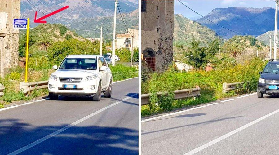 """S.S. 185 Giardini-Sella Mandrazzi: le fermate degli autobus si tingono di """"giallo"""""""