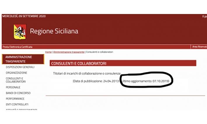 Regione Siciliana e trasparenza: spariti da internet incarichi e consulenze
