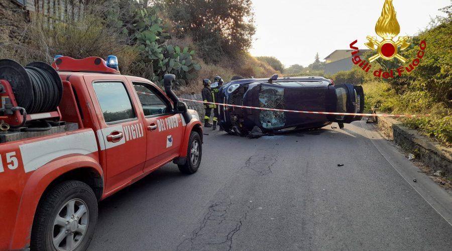 Catania, grave incidente sulla Stradale Cardinale SP54: intervento dei Vvff